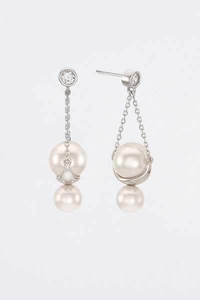 Chain Drop Snow Pearl Earring (한보름,곽선영 착용)